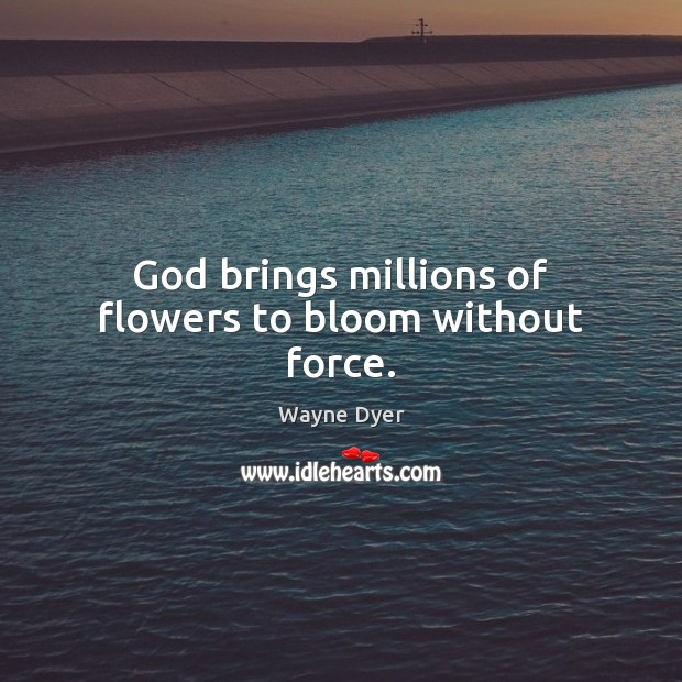 Image, God brings millions of flowers to bloom without force.