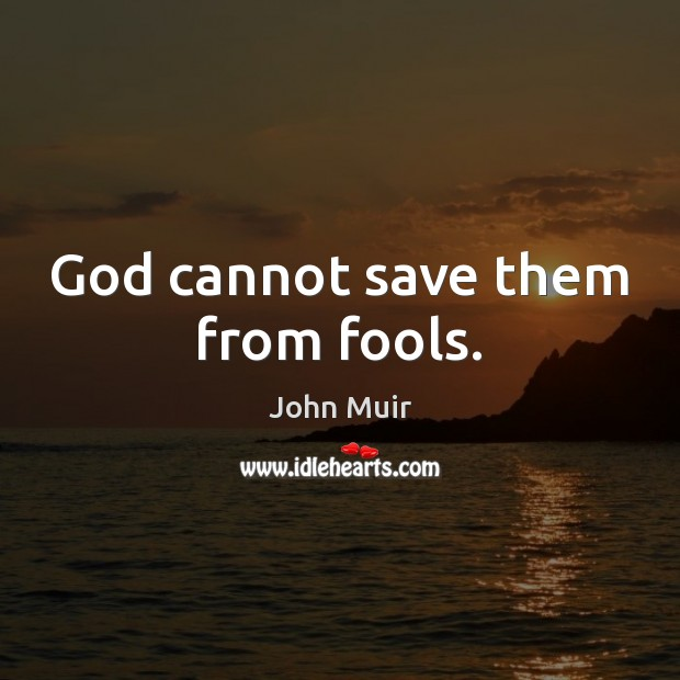 God cannot save them from fools. John Muir Picture Quote