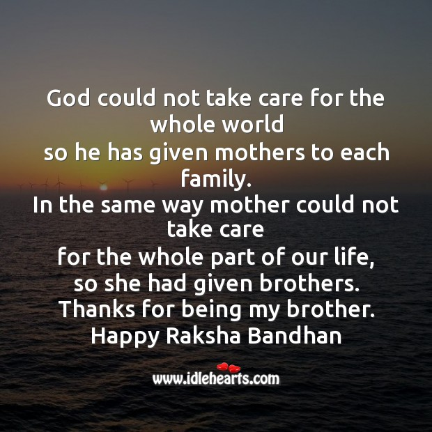 God could not take care for the whole world Raksha Bandhan Quotes Image