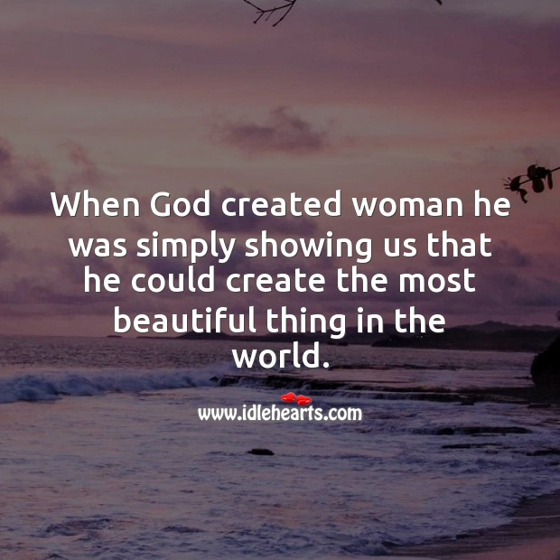 Image, God created woman beautiful.