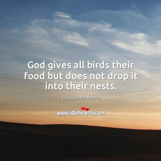 God gives all birds their food but does not drop it into their nests. Image