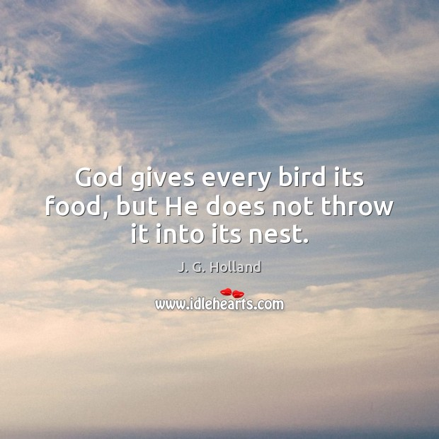 God gives every bird its food, but He does not throw it into its nest. Image