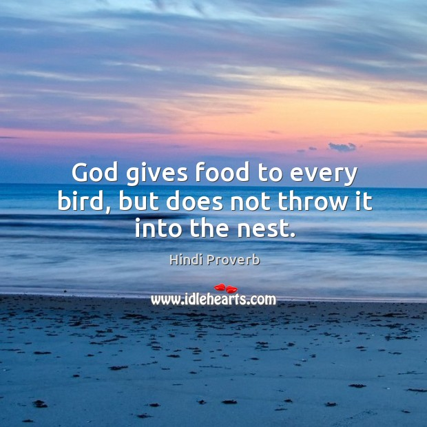 God gives food to every bird, but does not throw it into the nest. Hindi Proverbs Image