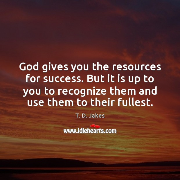 God gives you the resources for success. But it is up to Image