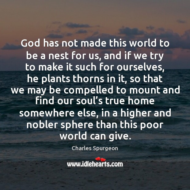 Image, God has not made this world to be a nest for us,