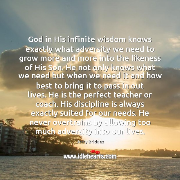 God in His infinite wisdom knows exactly what adversity we need to Jerry Bridges Picture Quote
