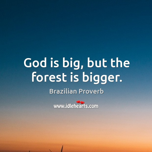 God is big, but the forest is bigger. Brazilian Proverbs Image