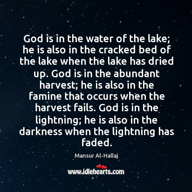 God is in the water of the lake; he is also in Image