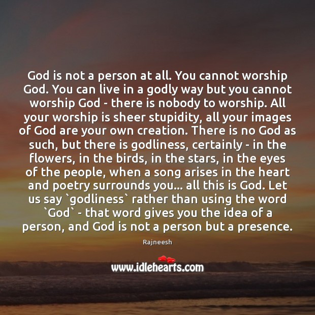 God is not a person at all. You cannot worship God. You Worship Quotes Image