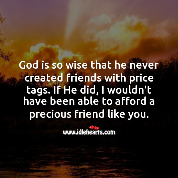 God is so wise that he never created friends with price tags. Wise Quotes Image