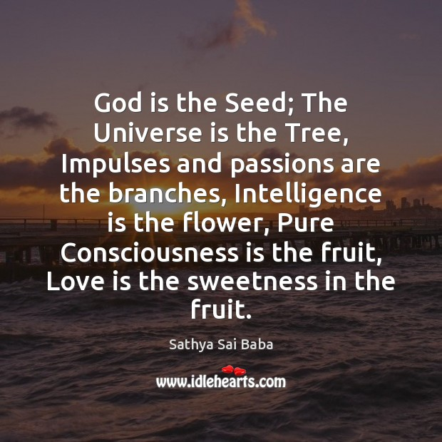 God is the Seed; The Universe is the Tree, Impulses and passions Sathya Sai Baba Picture Quote