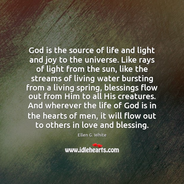 God is the source of life and light and joy to the Image