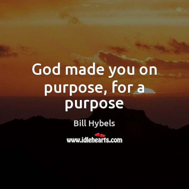 God made you on purpose, for a purpose Bill Hybels Picture Quote