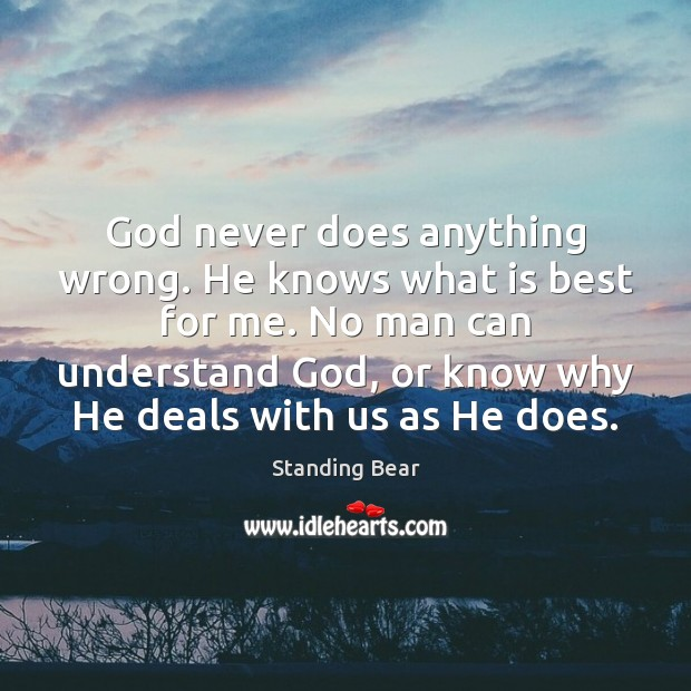 God never does anything wrong. He knows what is best for me. Image