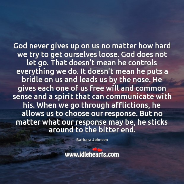 God never gives up on us no matter how hard we try Barbara Johnson Picture Quote