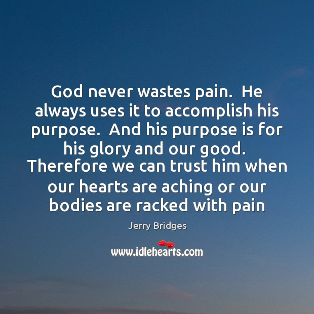 God never wastes pain.  He always uses it to accomplish his purpose. Jerry Bridges Picture Quote