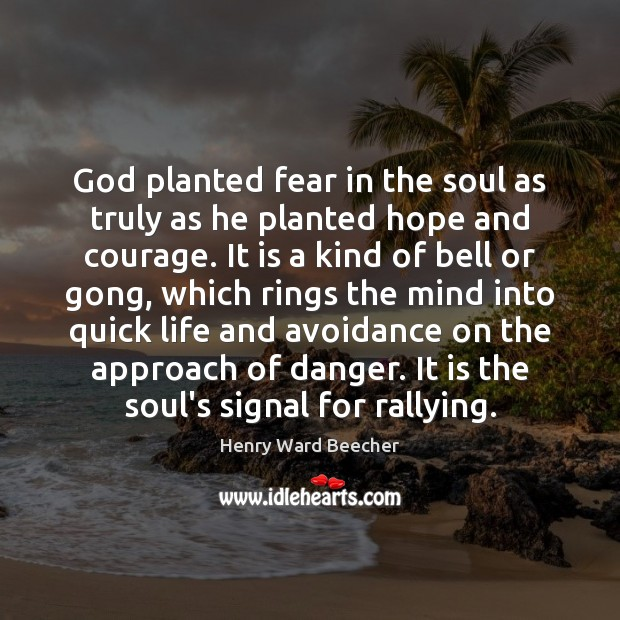 Image, God planted fear in the soul as truly as he planted hope