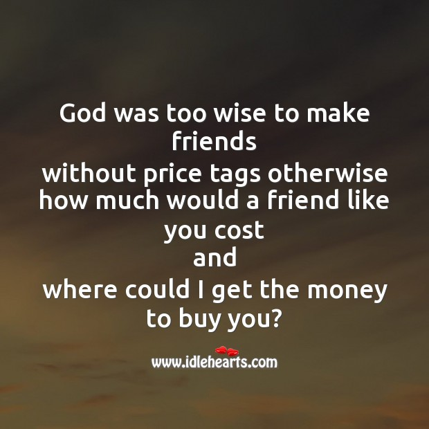 God was too wise to make friends Image