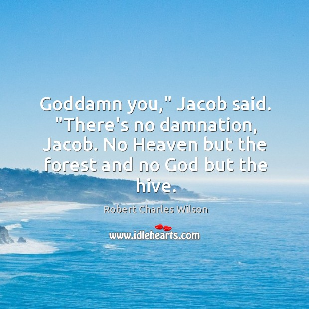 "Goddamn you,"" Jacob said. ""There's no damnation, Jacob. No Heaven but the Robert Charles Wilson Picture Quote"