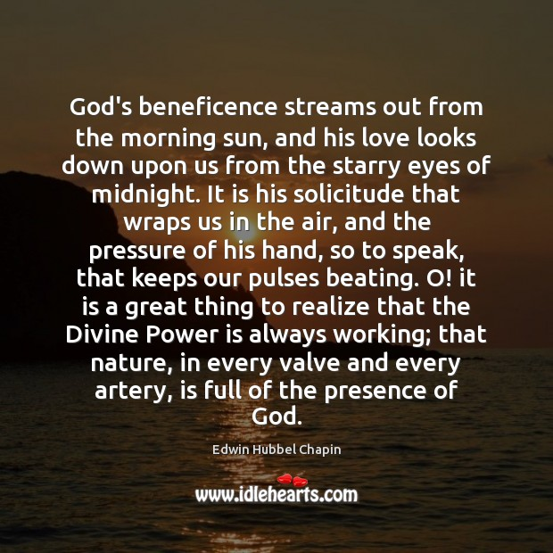 Image, God's beneficence streams out from the morning sun, and his love looks