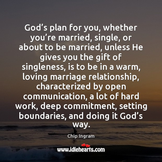 God's plan for you, whether you're married, single, or about Chip Ingram Picture Quote