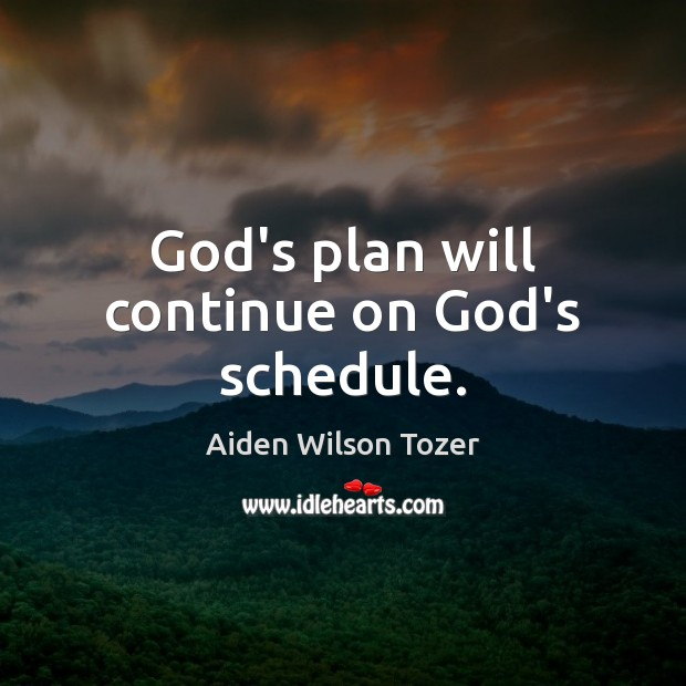 God's plan will continue on God's schedule. Aiden Wilson Tozer Picture Quote