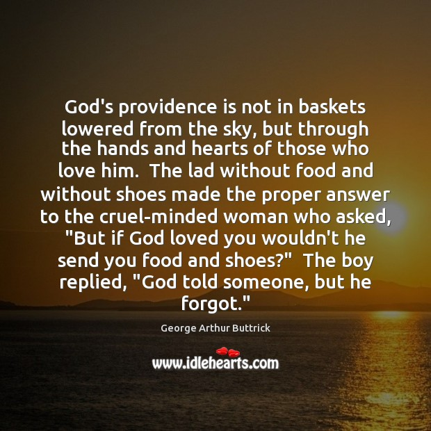God's providence is not in baskets lowered from the sky, but through Image