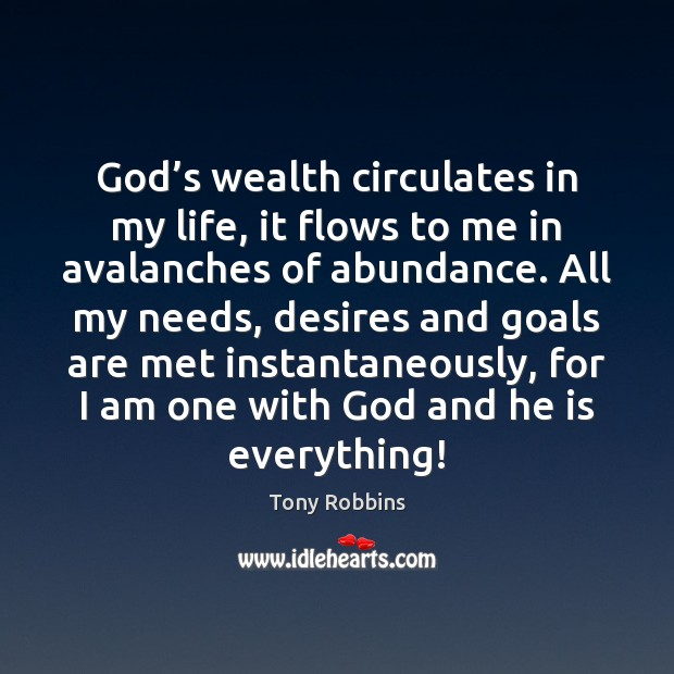 Image, God's wealth circulates in my life, it flows to me in