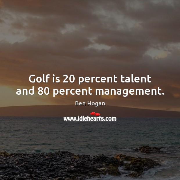 Image, Golf is 20 percent talent and 80 percent management.