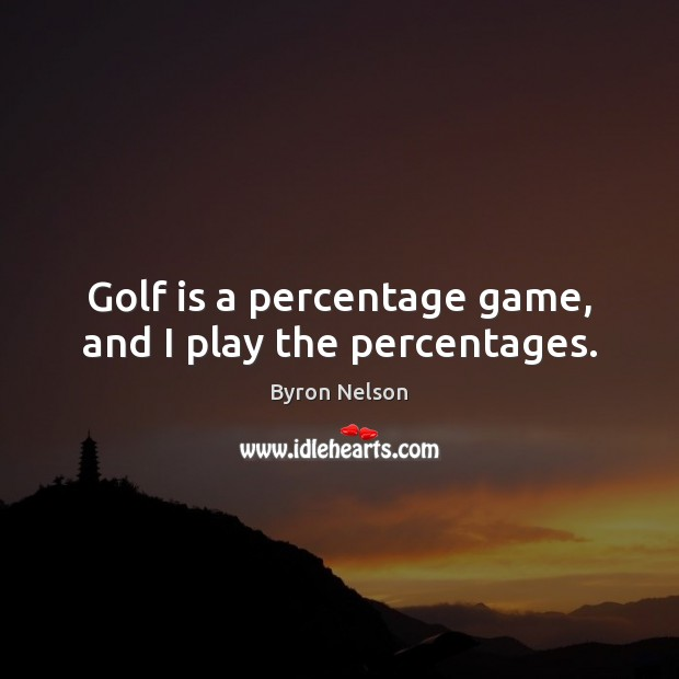 Image, Golf is a percentage game, and I play the percentages.