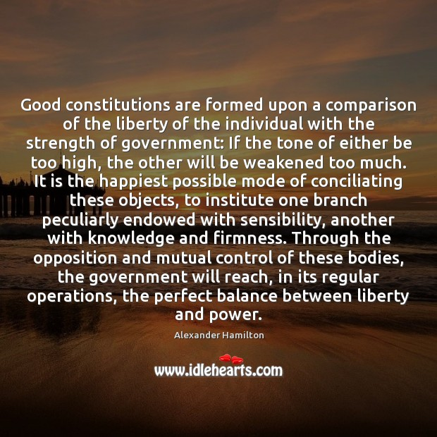 Image, Good constitutions are formed upon a comparison of the liberty of the