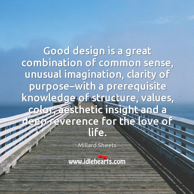 Good design is a great combination of common sense, unusual imagination, clarity Millard Sheets Picture Quote