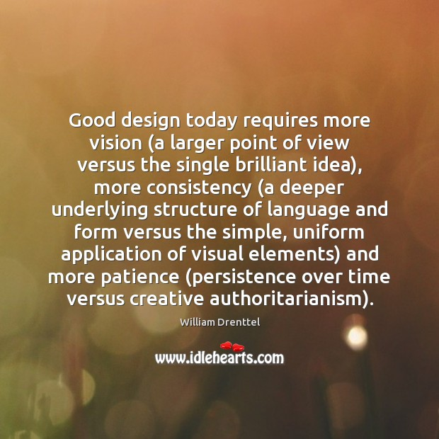 Image, Good design today requires more vision (a larger point of view versus