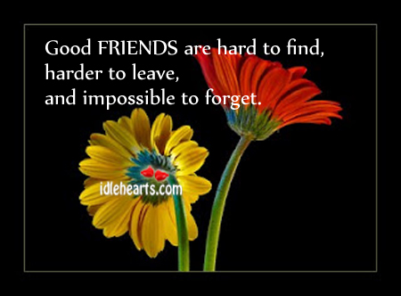 Good FRIENDS Are Hard To Find….