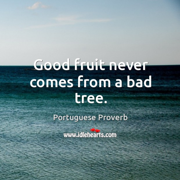 Good fruit never comes from a bad tree. Image
