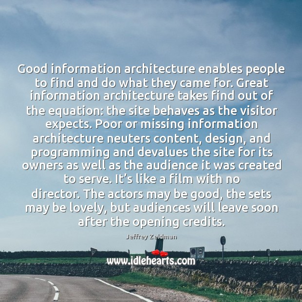Image, Good information architecture enables people to find and do what they came