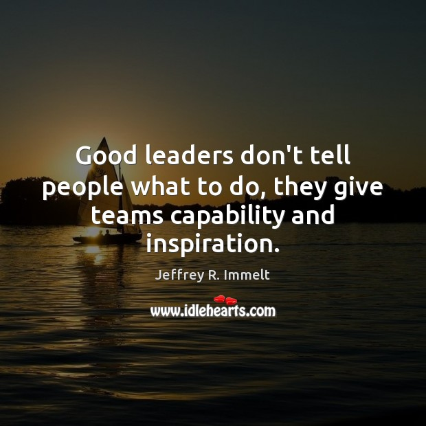 Good leaders don't tell people what to do, they give teams capability and inspiration. Image