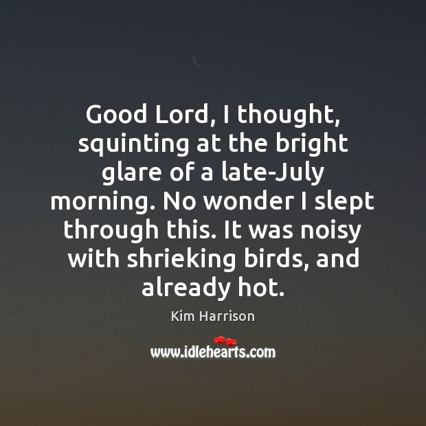 Good Lord, I thought, squinting at the bright glare of a late-July Kim Harrison Picture Quote