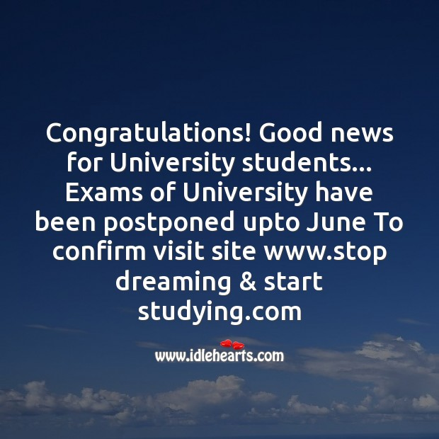 Good news for students Funny Messages Image