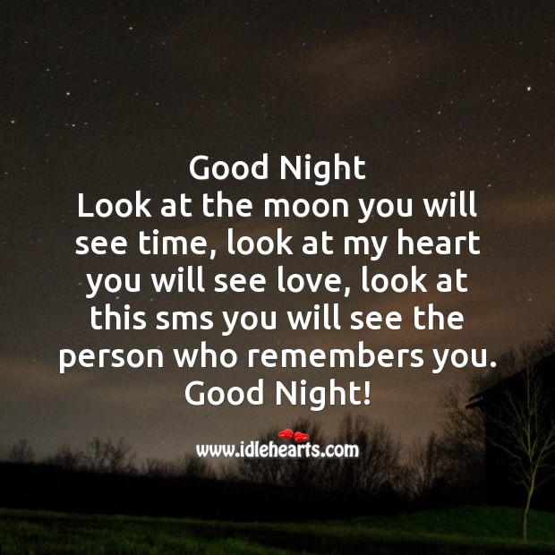 Good night look at the moon you will see time Image