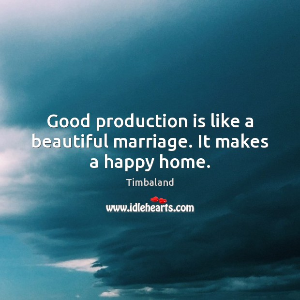 Image, Good production is like a beautiful marriage. It makes a happy home.