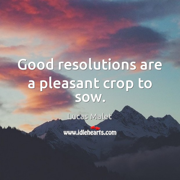 Good resolutions are a pleasant crop to sow. Image