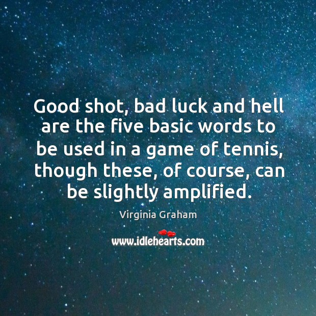 Good shot, bad luck and hell are the five basic words to be used in a game of tennis Image