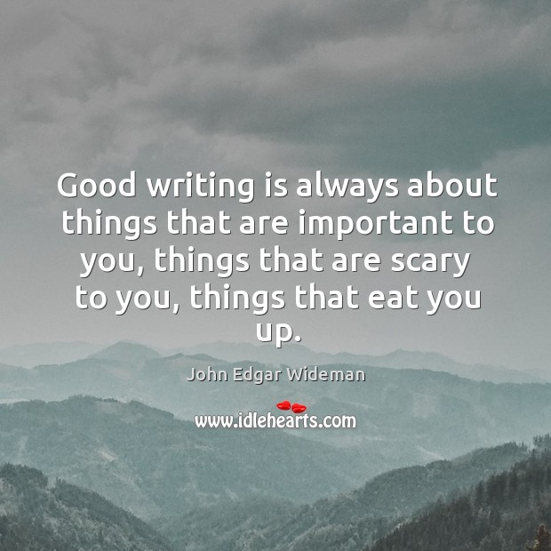 Good writing is always about things that are important to you, things Image