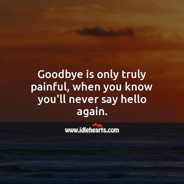Goodbye is only truly painful, when you know you'll never say hello again. Heart Touching Love Quotes Image