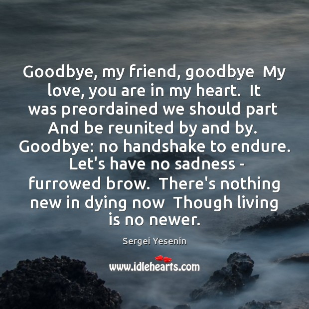 Goodbye, my friend, goodbye  My love, you are in my heart.  It Image