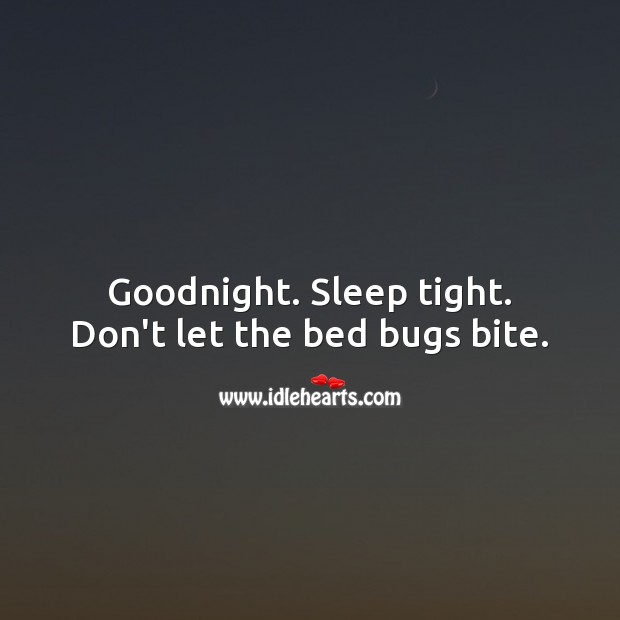 Goodnight. Sleep tight. Don't let the bed bugs bite. Good Night Quotes Image