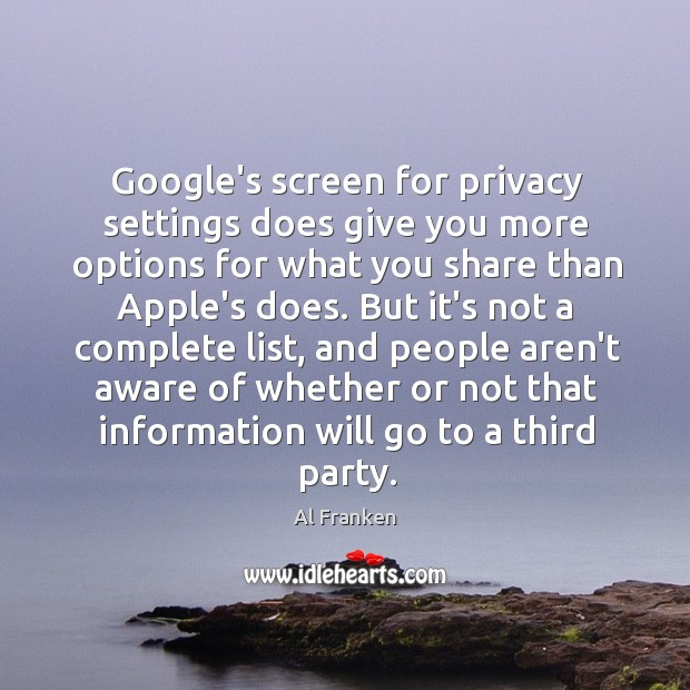 Google's screen for privacy settings does give you more options for what Image
