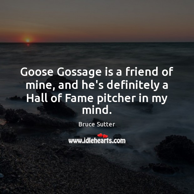 Image, Goose Gossage is a friend of mine, and he's definitely a Hall of Fame pitcher in my mind.