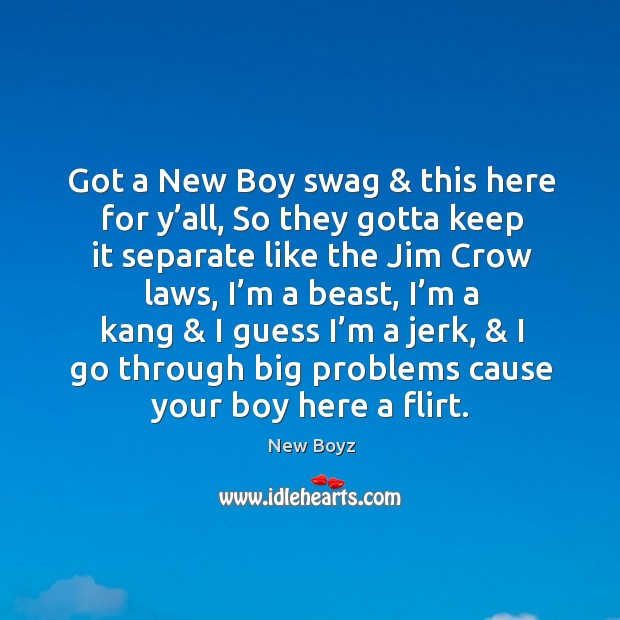 Got a new boy swag & this here for y'all, so they gotta keep it separate like the jim crow laws. New Boyz Picture Quote